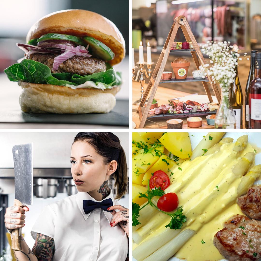 Sowasvonulm stellt vier der tollsten Restaurants der Stadt vor. Ein Burger, Snacks, eine Frau die ihr Aussehen in einem Beil betrachtet und Spargel mit Kartoffeln und Fleisch in Sauce Hollandaise